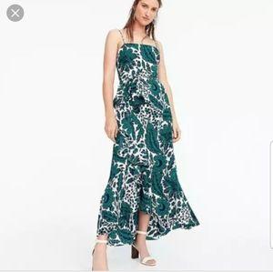 J. Crew Ruffle Hi-Low Silk Dress Tropical Floral